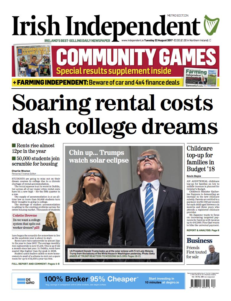 Irish Indo - dublin rental crisis front page